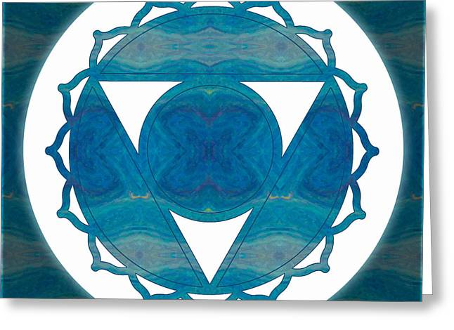Vishuddha Greeting Cards - Dimensional Communications Abstract Chakra Art by Omaste Witkows Greeting Card by Omaste Witkowski