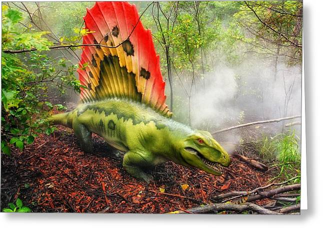 Geographic Mixed Media Greeting Cards - Dimetrodon  Greeting Card by Todd and candice Dailey