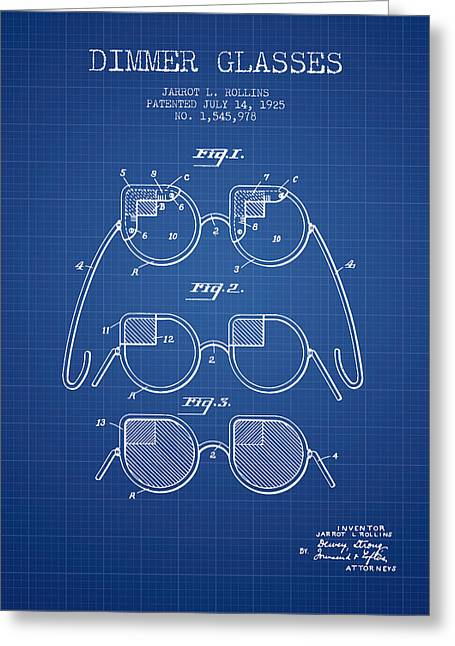 Sunglasses Greeting Cards - Dimmer Glasses Patent from 1925 - Blueprint Greeting Card by Aged Pixel