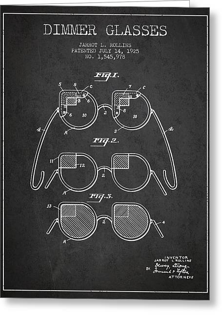Sunglasses Greeting Cards - Dimmer Glasses Patent from 1925 - Dark Greeting Card by Aged Pixel
