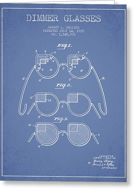 Sunglasses Greeting Cards - Dimmer Glasses Patent from 1925 - Light Blue Greeting Card by Aged Pixel