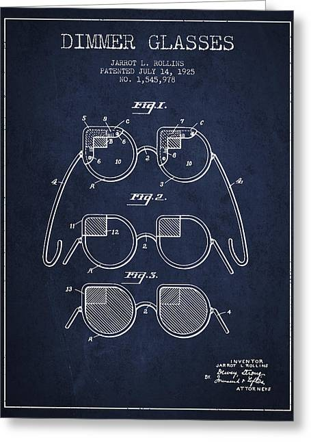 Glass Wall Greeting Cards - Dimmer Glasses Patent from 1925 - Navy Blue Greeting Card by Aged Pixel