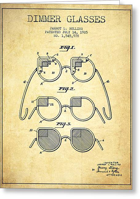 Sunglasses Greeting Cards - Dimmer Glasses Patent from 1925 - Vintage Greeting Card by Aged Pixel