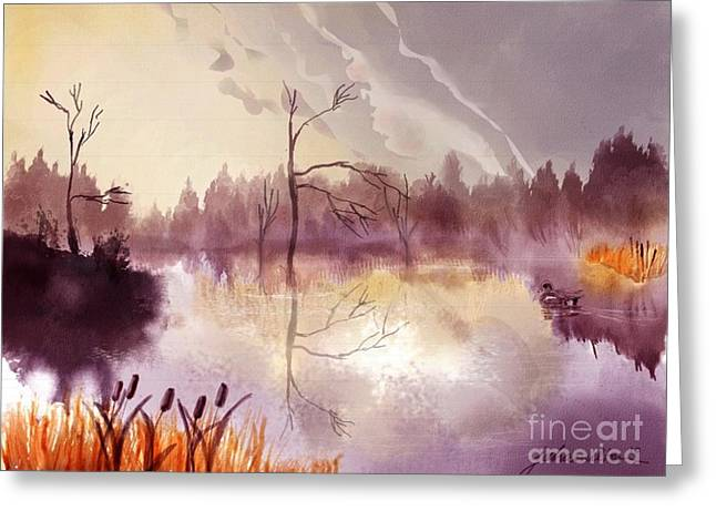 Joan A Hamilton Greeting Cards - Dimming of the Day Inspired by Bonnie Rait Song Greeting Card by Joan A Hamilton