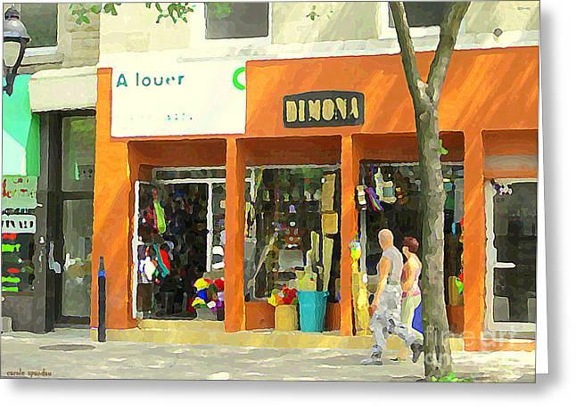 Dimona Latin Quarter Romantic Morning Summer Stroll Pretty Streets Montreal City Scene C Spandau Greeting Card by Carole Spandau