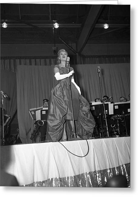 Big Band Greeting Cards - Dinah Shore in 1958 Greeting Card by Retro Images Archive