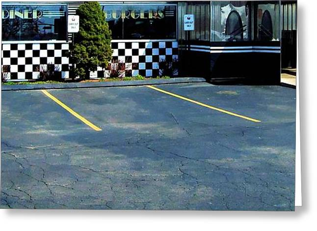 Diner at the Asphalt Headwaters Greeting Card by MJ Olsen