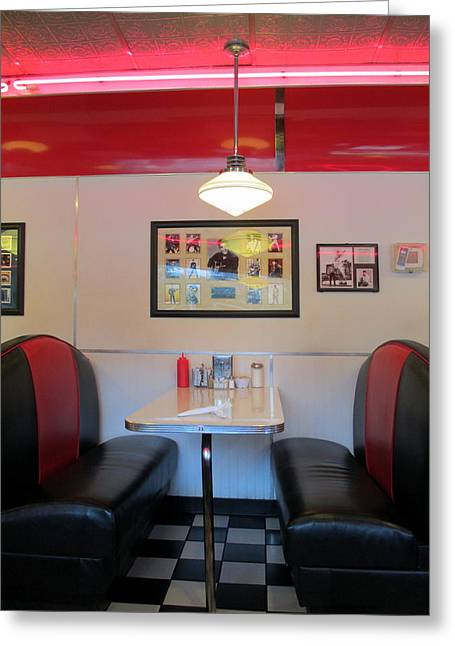 Charlotte Photographs Greeting Cards - Diner Booth Greeting Card by Randall Weidner