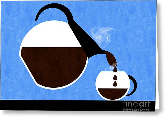 Pouring Greeting Cards - Diner Coffee Pot And Cup Blue Pouring Greeting Card by Andee Design
