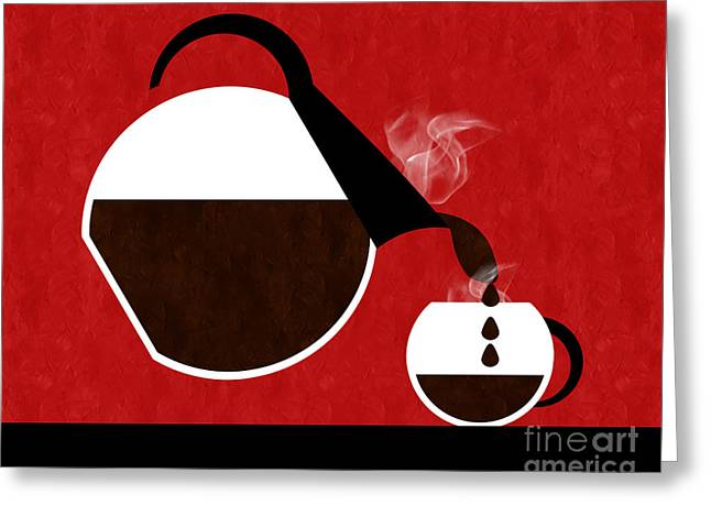 Pouring Greeting Cards - Diner Coffee Pot And Cup Red Pouring Greeting Card by Andee Design