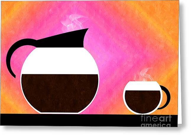 Sorbet Mixed Media Greeting Cards - Diner Coffee Pot And Cup Sorbet Greeting Card by Andee Design