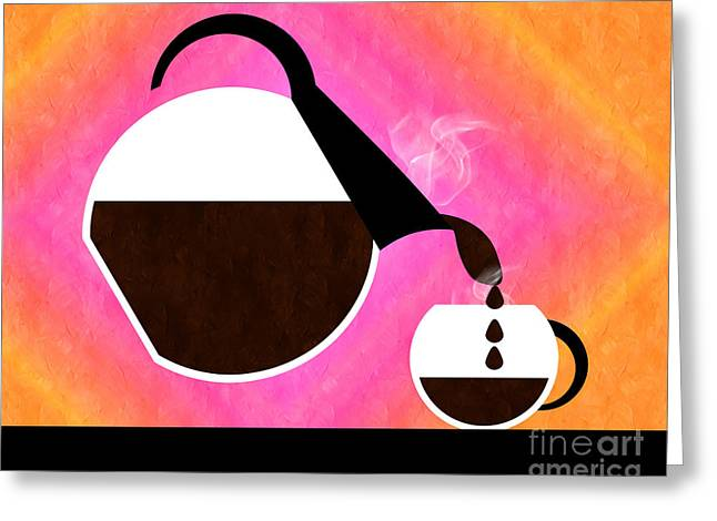 Pouring Digital Art Greeting Cards - Diner Coffee Pot And Cup Sorbet Pouring Greeting Card by Andee Design