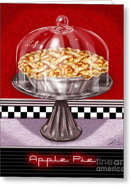 Checkerboard Greeting Cards - Diner Desserts - Apple Pie Greeting Card by Shari Warren