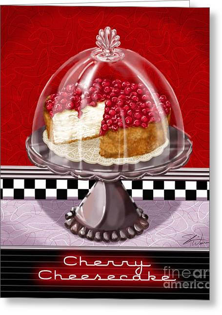 Checkerboard Greeting Cards - Diner Desserts - Cherry Cheesecake Greeting Card by Shari Warren