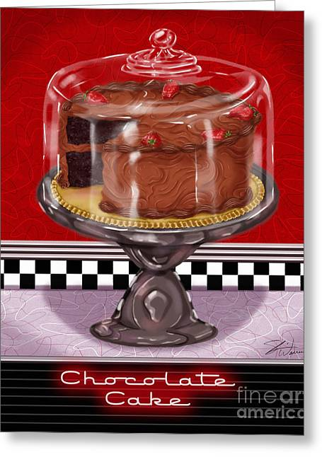 Checkerboard Greeting Cards - Diner Desserts - Chocolate Cake Greeting Card by Shari Warren