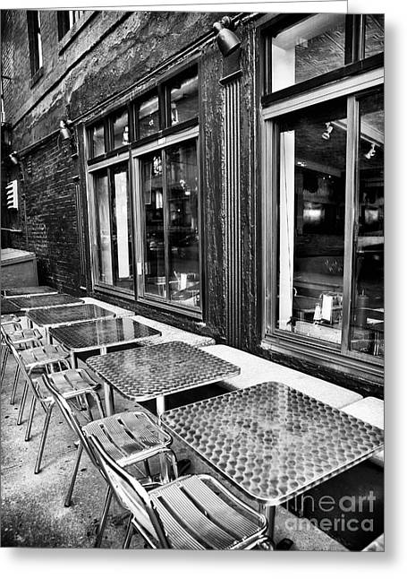 Table And Chairs Greeting Cards - Diner Dining Greeting Card by John Rizzuto