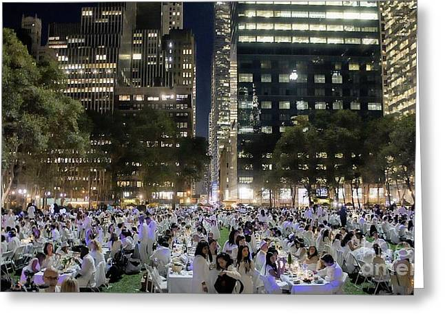 Al Fresco Greeting Cards - Diner en Blanc New York 2013 Greeting Card by Lilliana Mendez