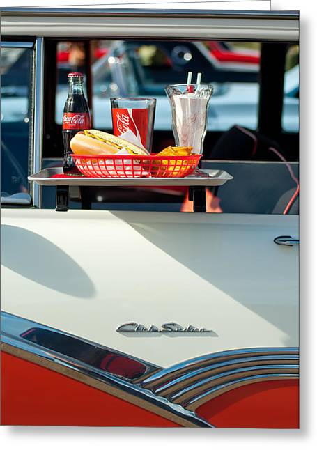 Diner Greeting Cards - Diner Food Tray Club Sedan Greeting Card by Jill Reger