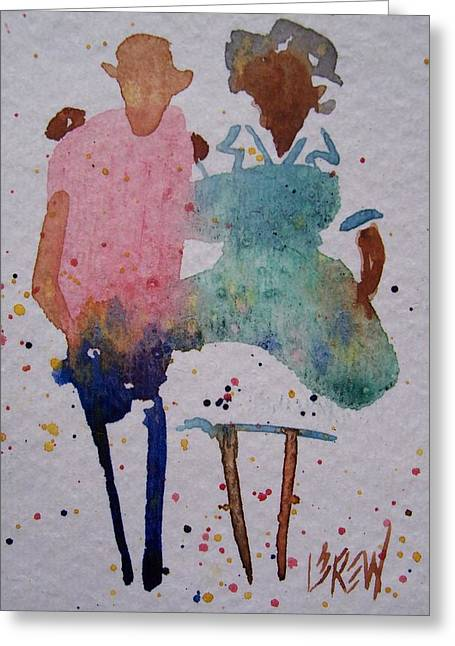 Waitress Drawings Greeting Cards - Diner Friends Greeting Card by Larry Lerew