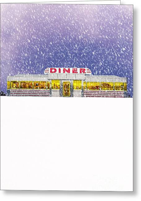 Cosy Greeting Cards - Diner in Snowstorm Greeting Card by Edward Fielding