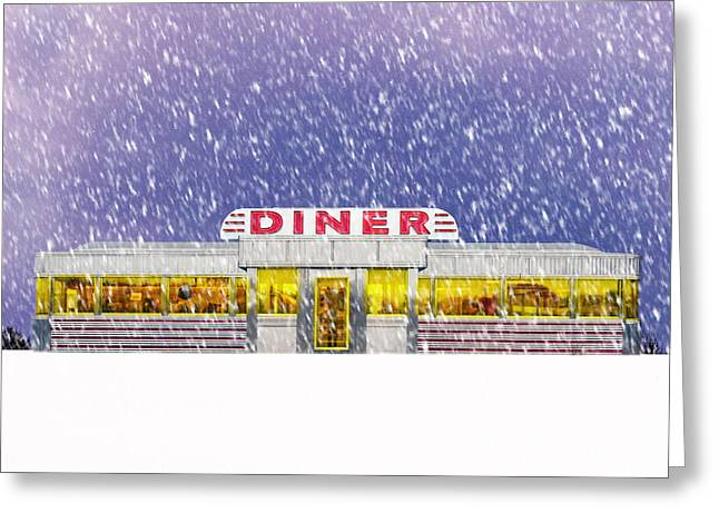 Cosy Greeting Cards - Diner in Snowstorm Square  Greeting Card by Edward Fielding