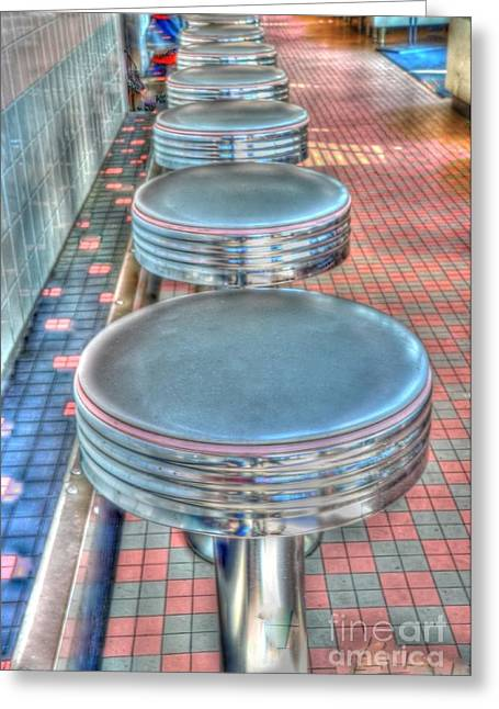 Struckle Greeting Cards - Diner Stools Greeting Card by Kathleen Struckle