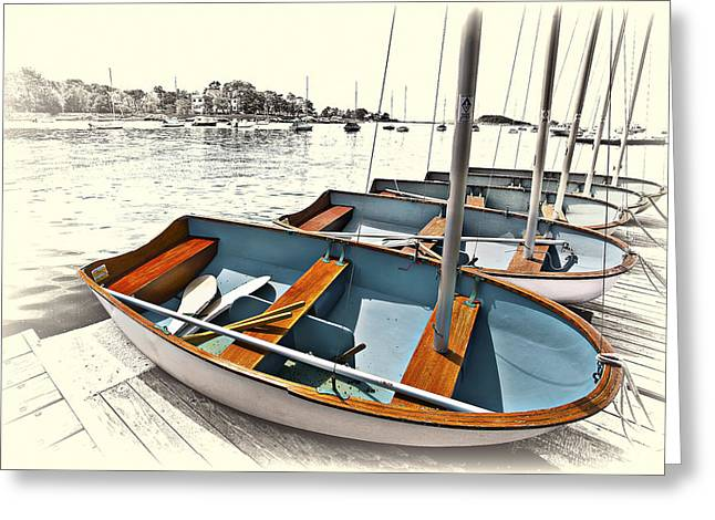 Docked Sailboat Greeting Cards - Dinghys Greeting Card by Marcia Colelli
