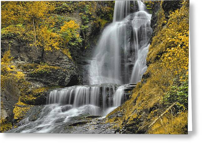 Dingmans Falls Greeting Cards - DIngmans Falls In Autumn Greeting Card by Stephen  Vecchiotti