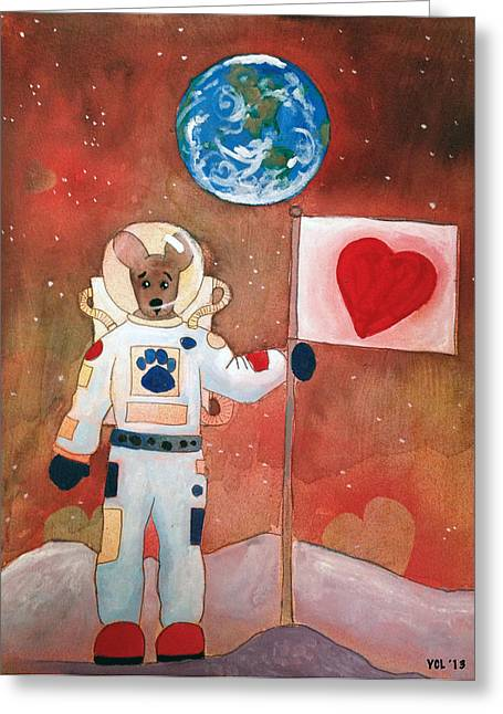 Astronauts Mixed Media Greeting Cards - Dingo Love Conquers The Moon Greeting Card by Yvonne Lozano