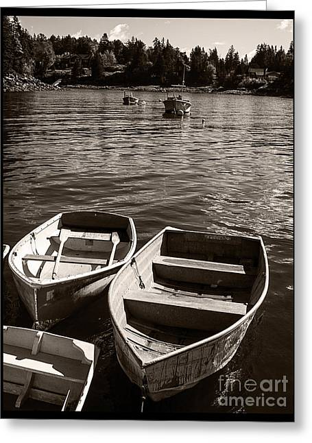 Maine Islands Greeting Cards - Dingy Docked in Seal Cove Maine Greeting Card by Edward Fielding