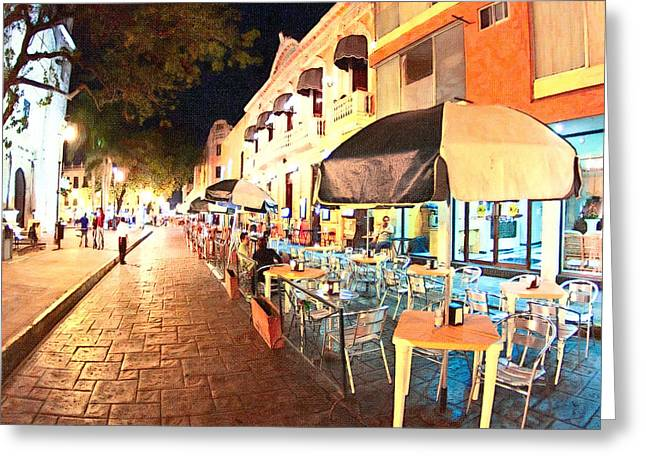 Eating Out Greeting Cards - Dining al Fresco in Merida Greeting Card by Mark Tisdale