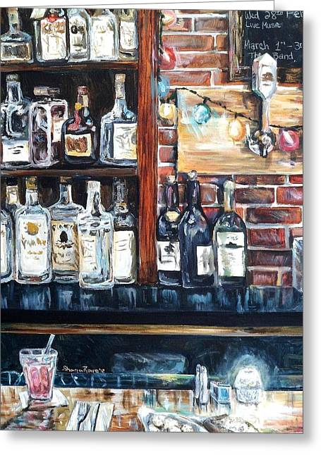Tap Paintings Greeting Cards - Dining at the Bar Greeting Card by Shana Rowe