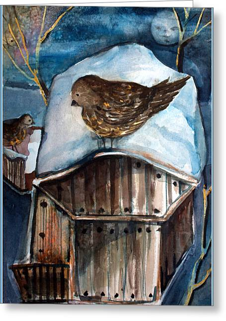 Sparrow Mixed Media Greeting Cards - Dining by Moonlight Greeting Card by Mindy Newman