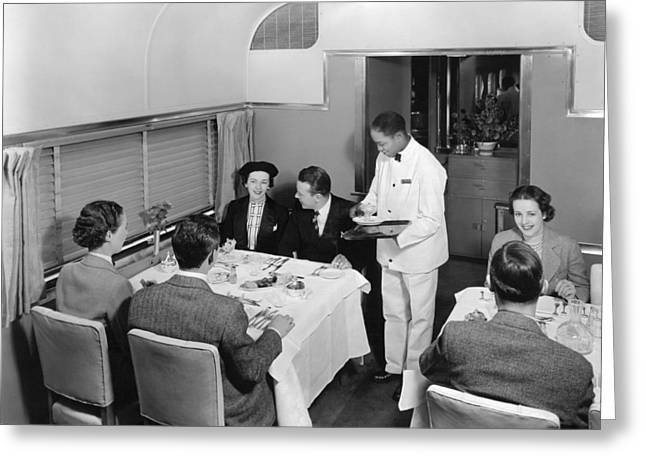 Dining Car On Denver Zephyr Greeting Card by Underwood Archives