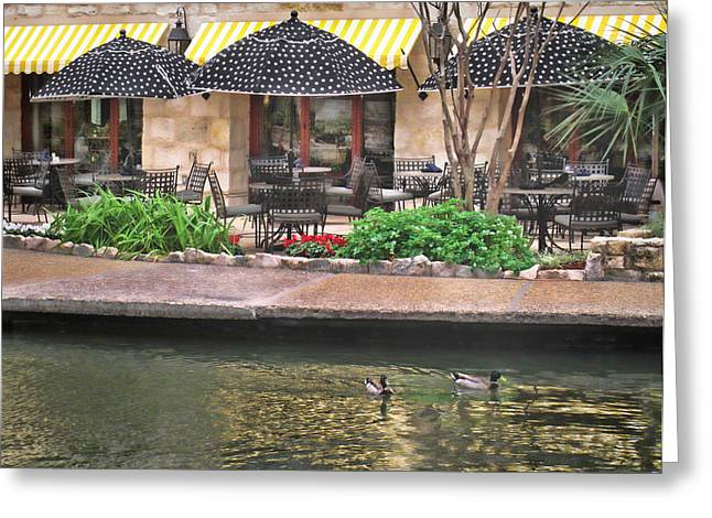 Dining On The Riverwalk Greeting Card by David and Carol Kelly