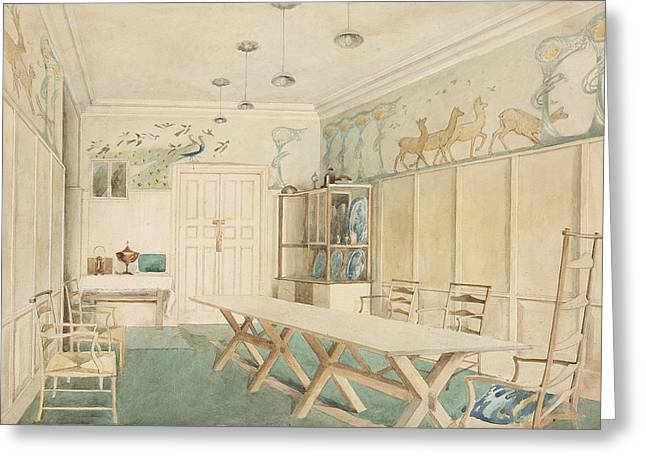 Table And Chairs Drawings Greeting Cards - Dining Room At 37 Cheyne Walk, Chelsea Greeting Card by Charles Robert Ashbee
