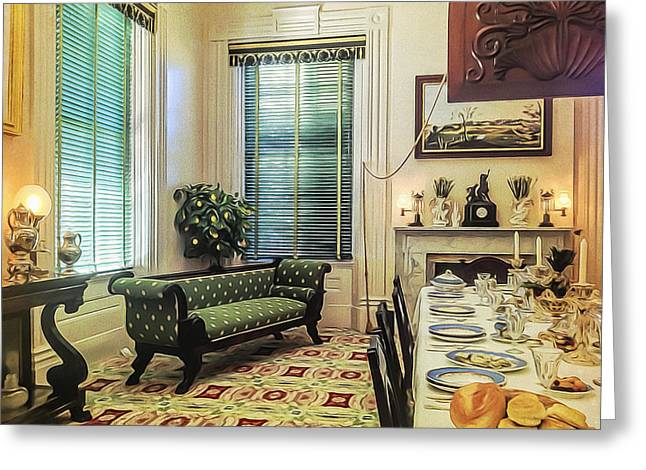Empty Chairs Greeting Cards - Dining room Greeting Card by Maria Coulson