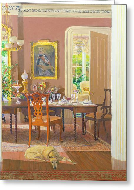 Afternoon Tea Greeting Cards - Dining Room Victorian Style Oil On Board Greeting Card by William Ireland