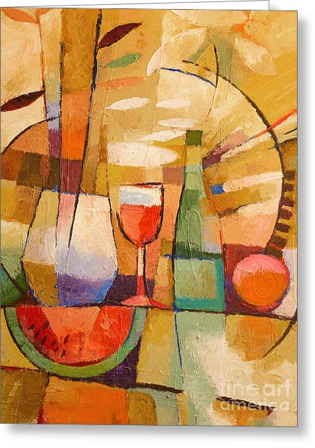 Melon Paintings Greeting Cards - Dining Table Greeting Card by Lutz Baar