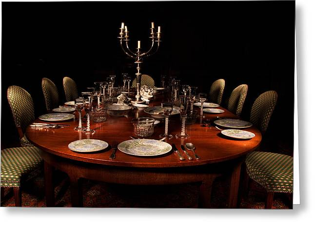 Wine Service Photographs Greeting Cards - Dining Table Paxton House Greeting Card by Niall McWilliam