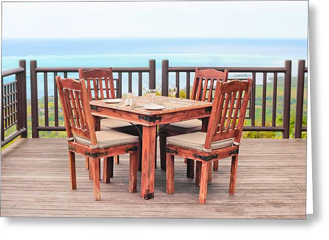 Al Fresco Greeting Cards - Dining table Greeting Card by Tom Gowanlock
