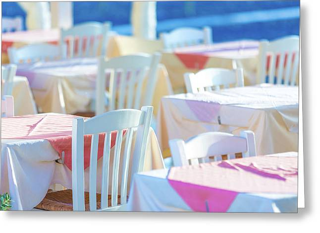 Dining Tables In An Outdoor Restaurant Greeting Card by Wladimir Bulgar