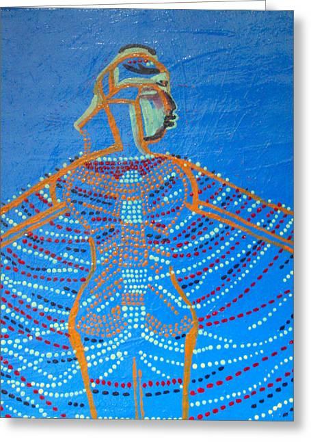 Dinka Corset Greeting Card by Gloria Ssali