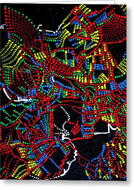 African Art Pyrography Greeting Cards - Dinka Joy Three - South Sudan Greeting Card by Gloria Ssali