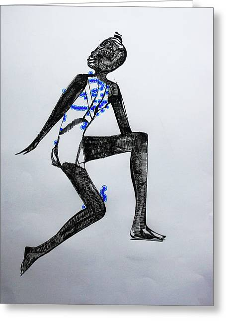 Corset Drawings Greeting Cards - Dinka Silhouette - South Sudan Greeting Card by Gloria Ssali