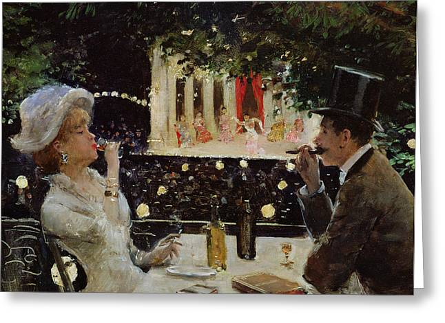 Night Cafe Paintings Greeting Cards - Dinner at Les Ambassadeurs Greeting Card by  Jean Beraud