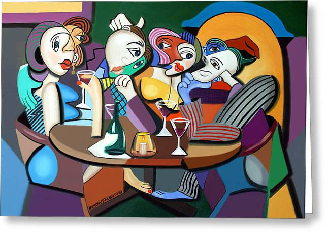 Italian Restaurant Digital Greeting Cards - Dinner At Marios Greeting Card by Anthony Falbo