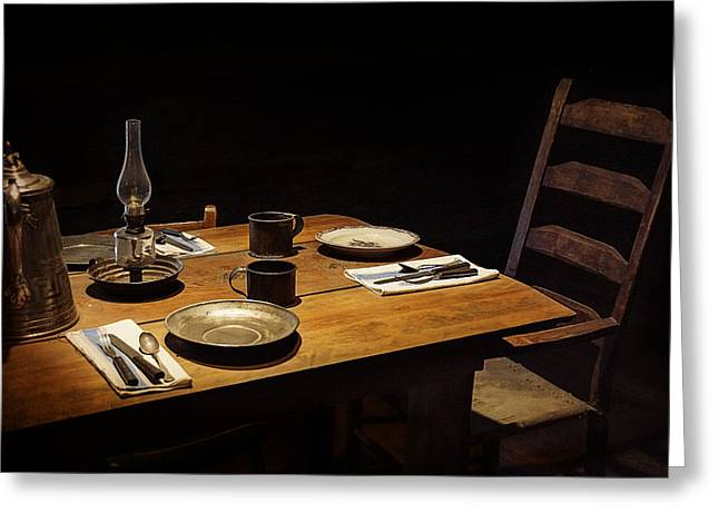 Hurricane Lamp Greeting Cards - Dinner Awaits Greeting Card by Priscilla Burgers