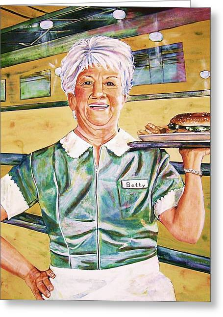 Waitress Greeting Cards - Dinner Betty Greeting Card by Linda Vaughon