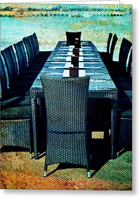 Al Fresco Greeting Cards - Dinner by the Sea Greeting Card by Nomad Art And  Design